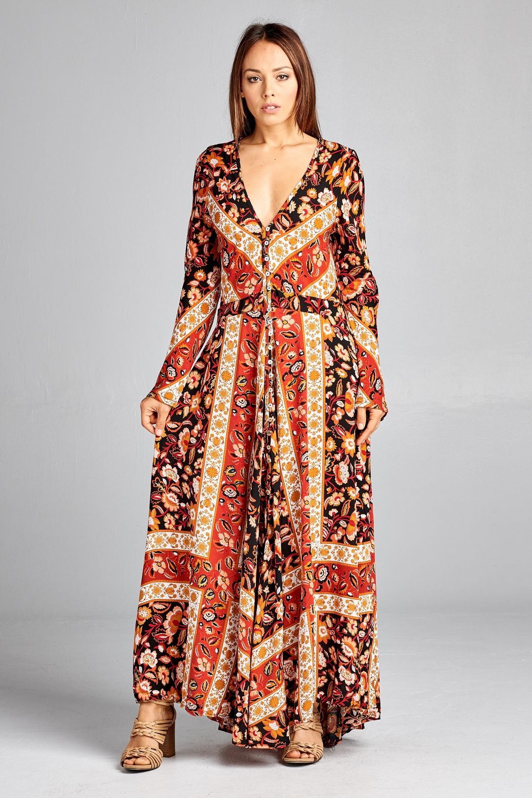 Racine Floral Dreamy-Romantic Maxi-Dress - Front Full Image