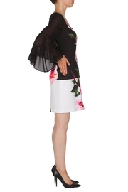 Joseph Ribkoff  Floral Dress with Black sheer Bell Sleeve - Product Mini Image