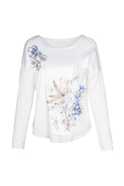 M made in Italy Floral Embellished Satin Front Top - Product Mini Image