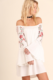 umgee  Floral Emboridered Bell Sleeve Dress - Product Mini Image