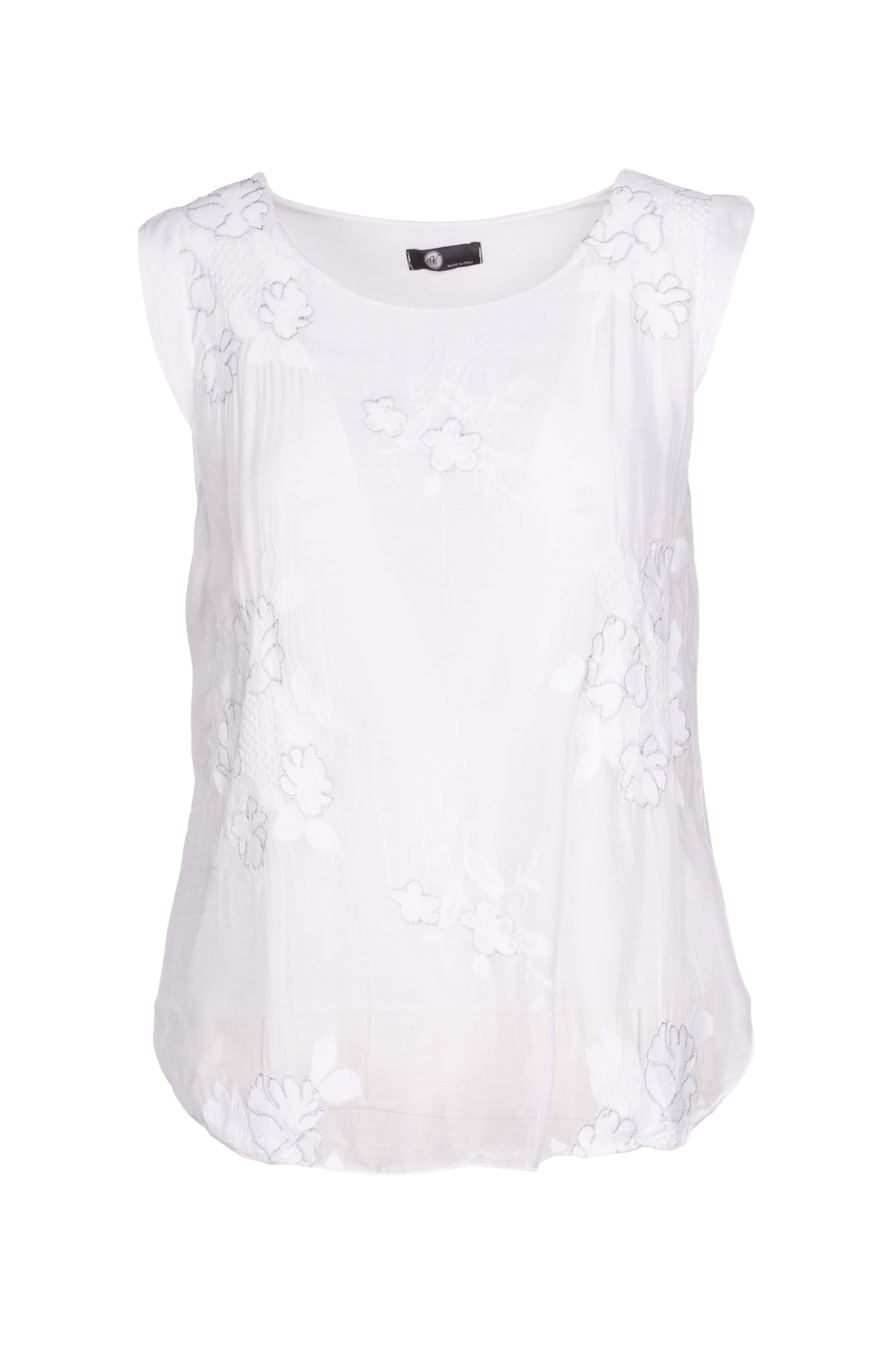 M made in Italy Floral Embroidered Blouse - Main Image