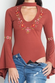 Private Label Floral Embroidered Bodysuit - Side cropped