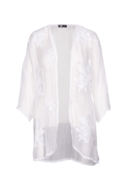 M made in Italy Floral Embroidered Cardi with Trim - Product Mini Image