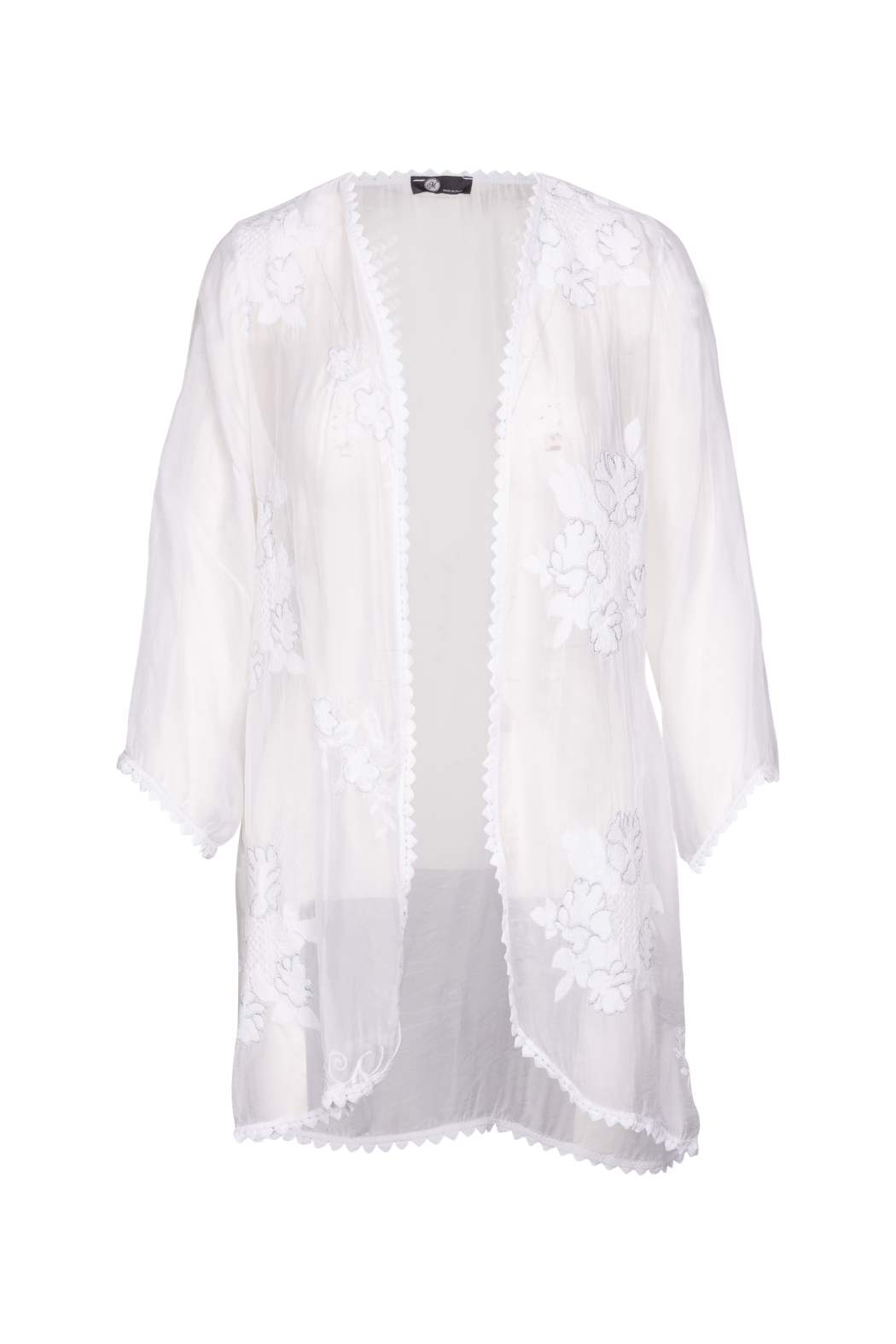 M made in Italy Floral Embroidered Cardi with Trim - Main Image