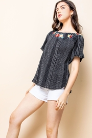 Thml Floral Embroidered Collar Top - Product Mini Image