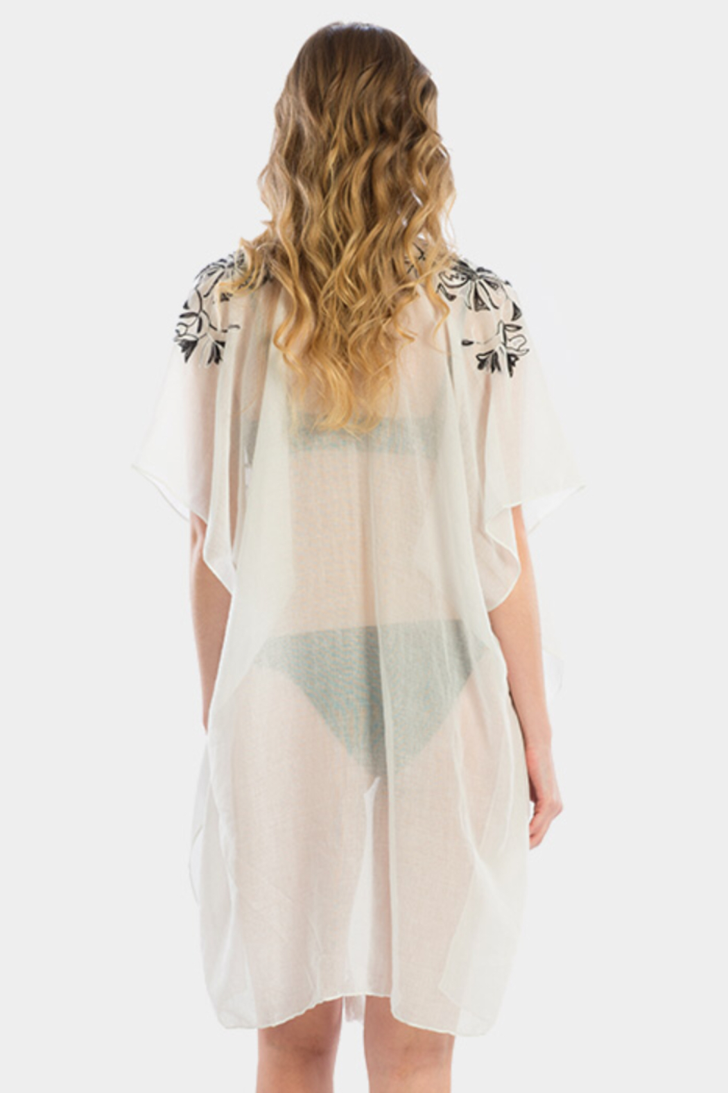 Wona Trading Floral Embroidered Cover Up/Kimono - Front Full Image