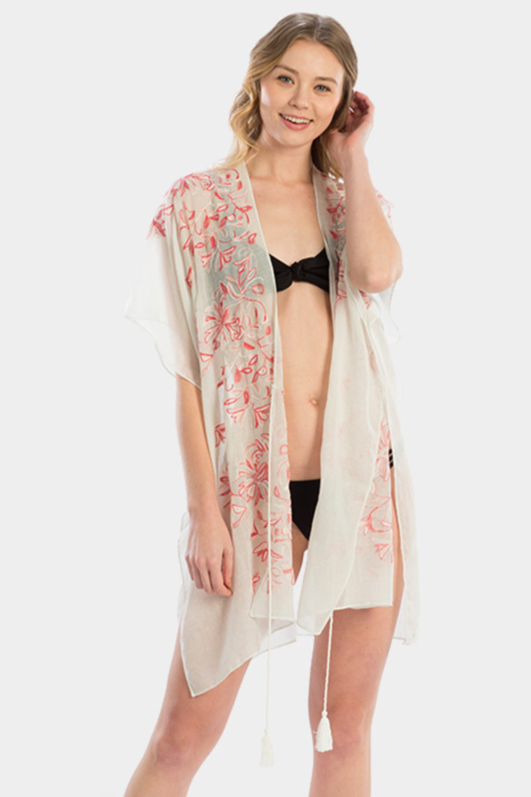 Wona Trading Floral Embroidered Cover Up/Kimono - Front Cropped Image