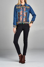 Velzera Floral Embroidered Denim-Jacket - Product Mini Image