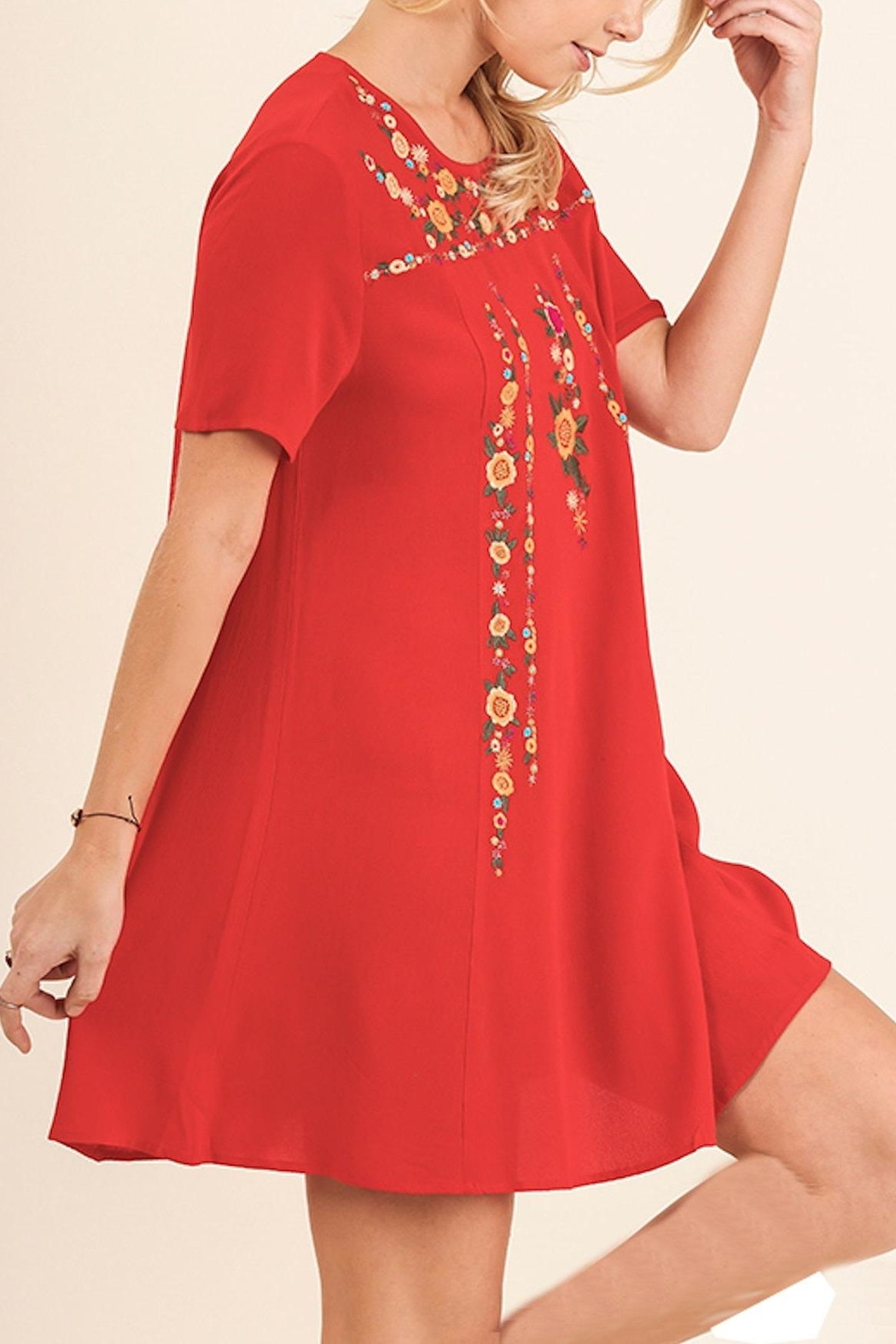 Umgee USA Floral Embroidered Dress - Front Full Image