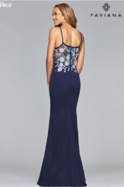 Faviana Floral Embroidered Gown - Front full body