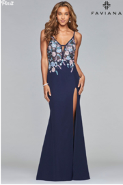Faviana Floral Embroidered Gown - Front cropped