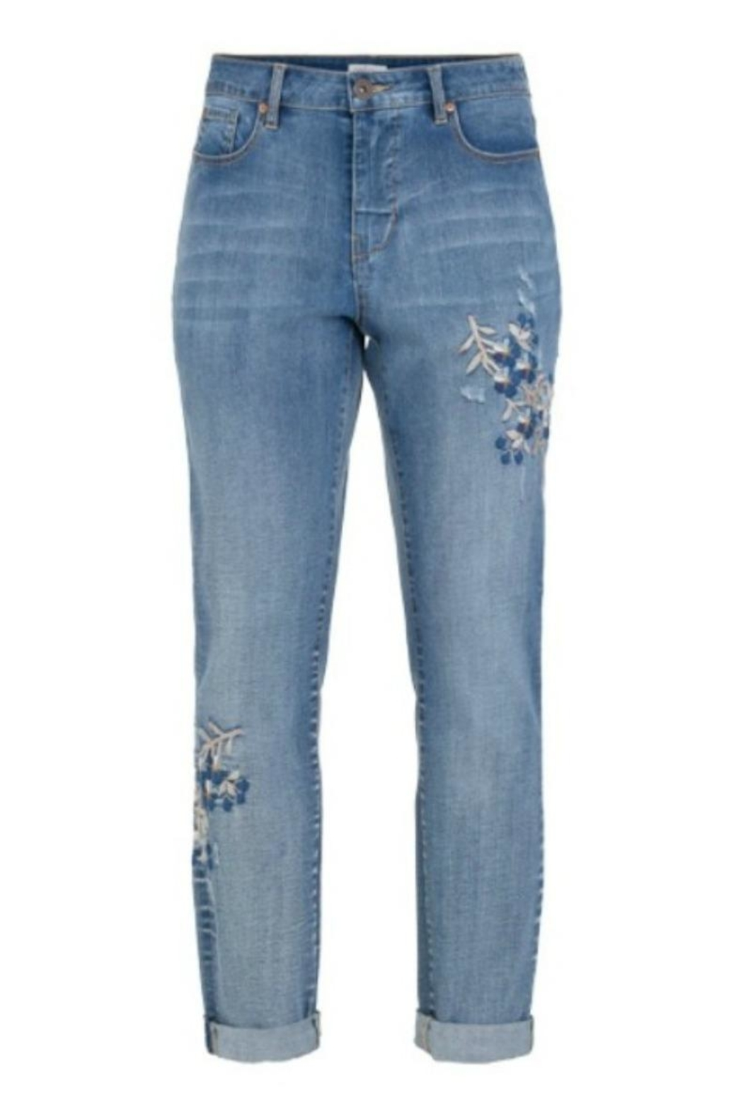 Tribal Floral Embroidered Jeans - Front Cropped Image