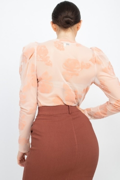 Iris Basic Floral-Embroidered Long Puff Sleeves Top - Alternate List Image