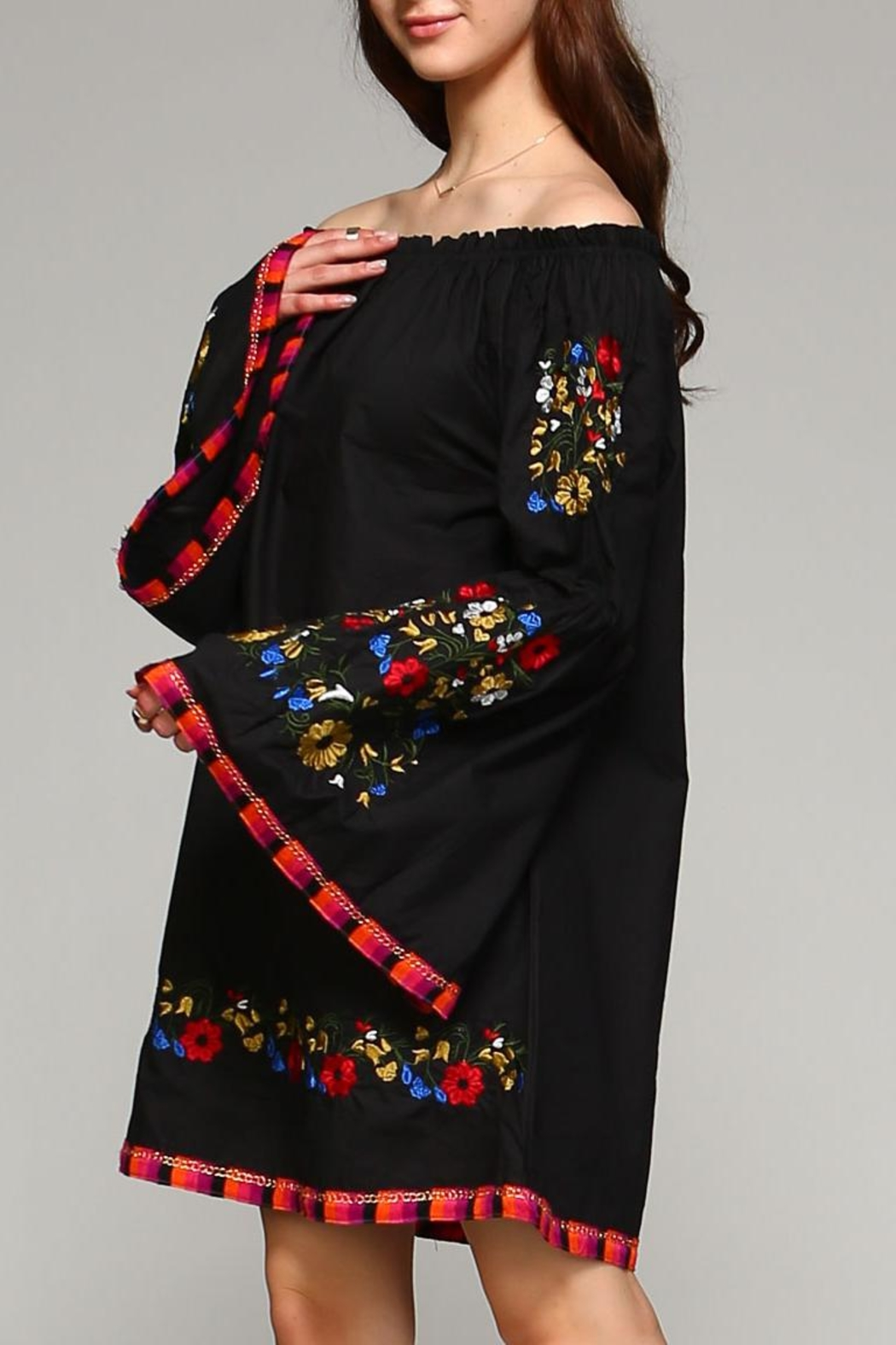 Velzera Floral-Embroidered Off-Shoulder Dress - Front Full Image
