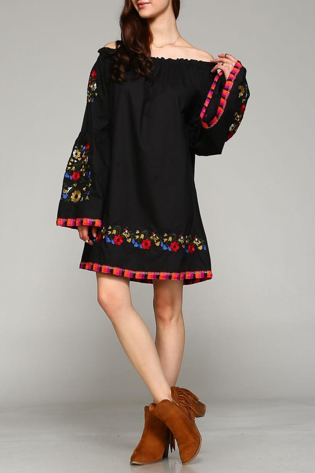 Velzera Floral-Embroidered Off-Shoulder Dress - Main Image