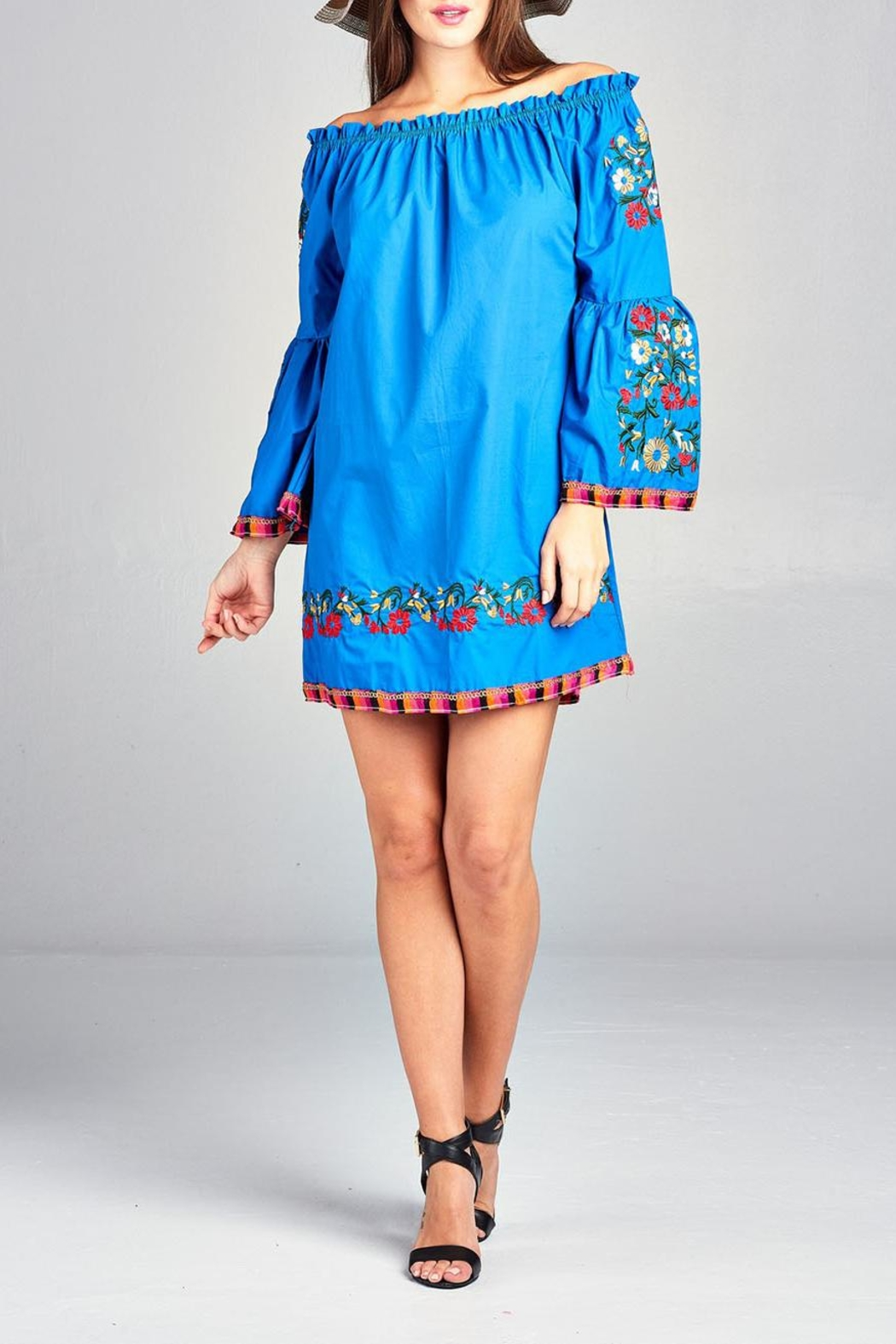 Velzera Floral-Embroidered Off-Shoulder Dress - Front Cropped Image