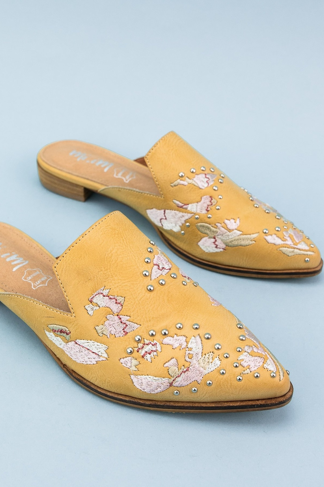 MiiM Floral Embroidered Pointed-Toe Mule - Front Full Image