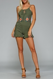 Racine Floral Embroidered Romper - Front full body