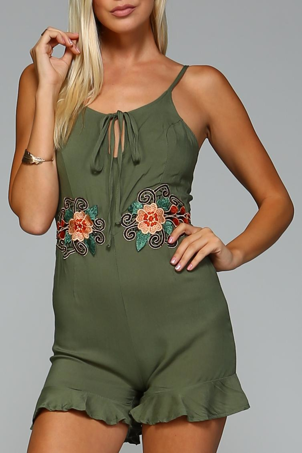 Racine Floral Embroidered Romper - Main Image