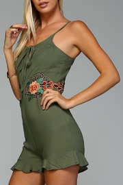 Racine Floral Embroidered Romper - Side cropped
