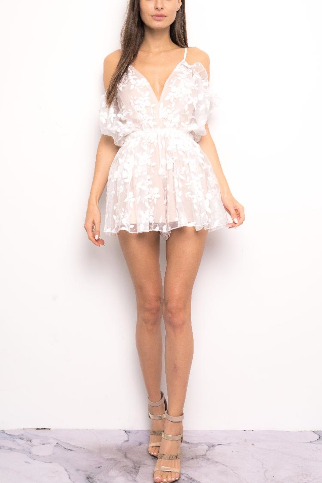 Blithe  Floral Embroidered Romper - Main Image
