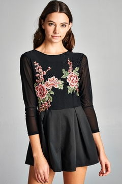 Racine Floral Embroidered Romper - Product List Image