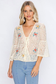 Flying Tomato Floral Embroidered Surplice top - Product Mini Image