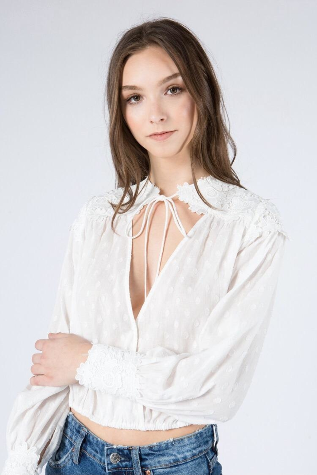 FANCO Floral Embroidered Top - Front Full Image