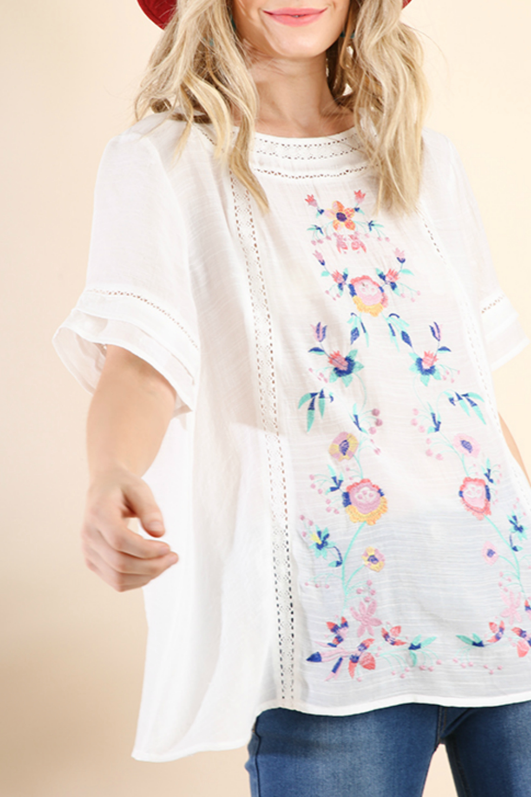 Umgee  Floral Embroidered TOp - Main Image