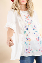 Umgee  Floral Embroidered TOp - Front cropped