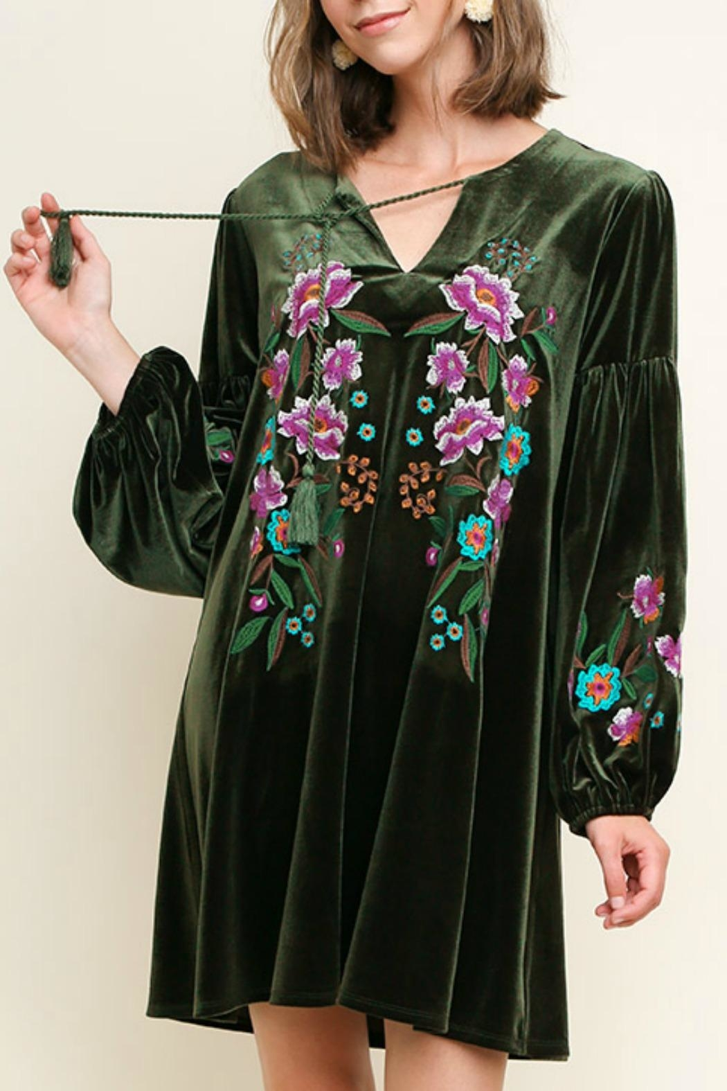 Umgee USA Floral Embroidered Velvet - Front Cropped Image