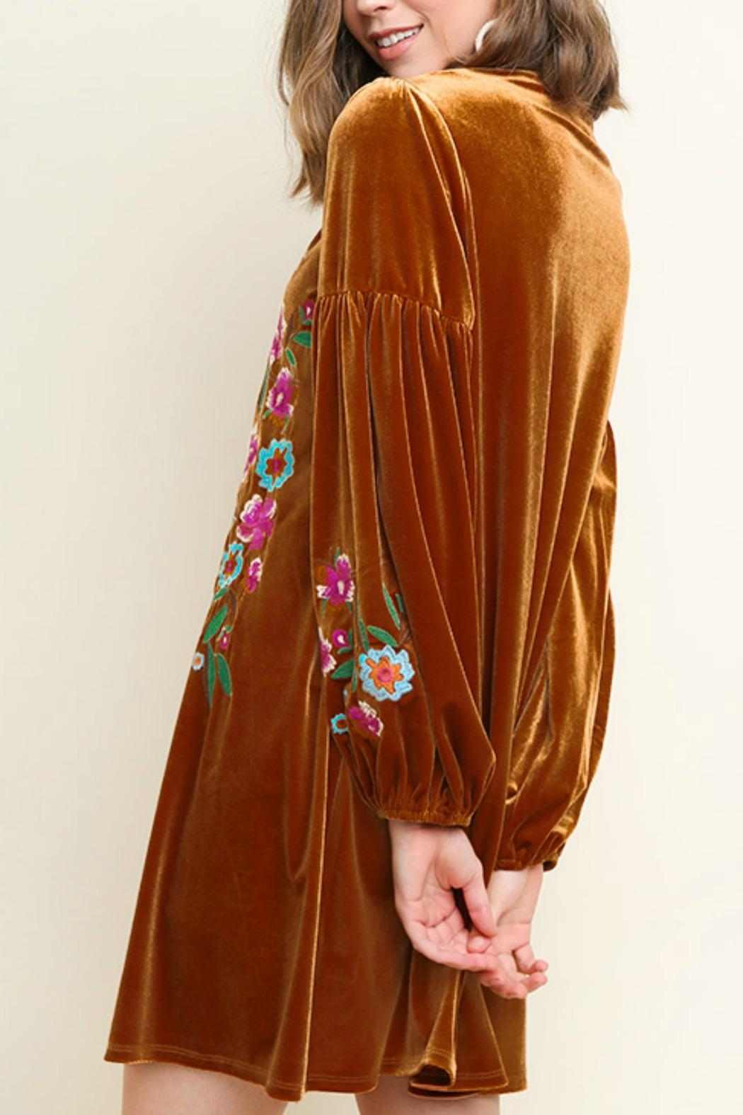 Umgee USA Floral Embroidered Velvet - Front Full Image