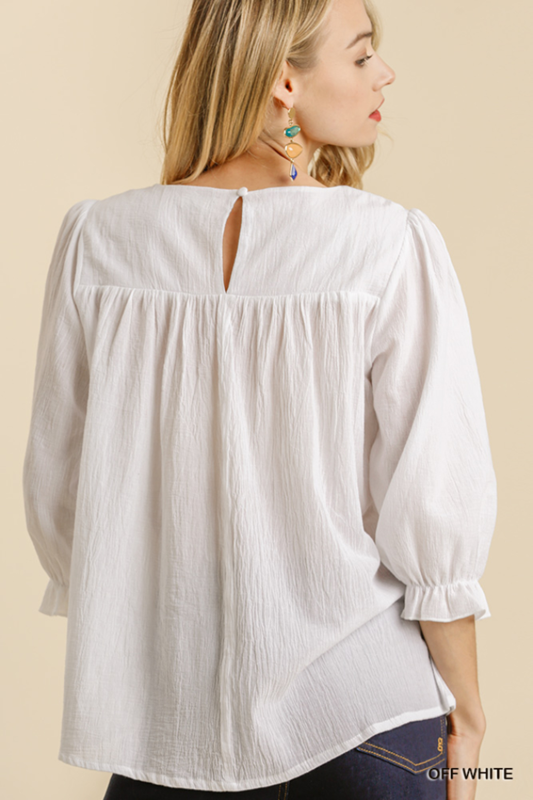 umgee  FLORAL EMBROIDERED YOKE 3/4 CUFF SLV TOP - Front Full Image
