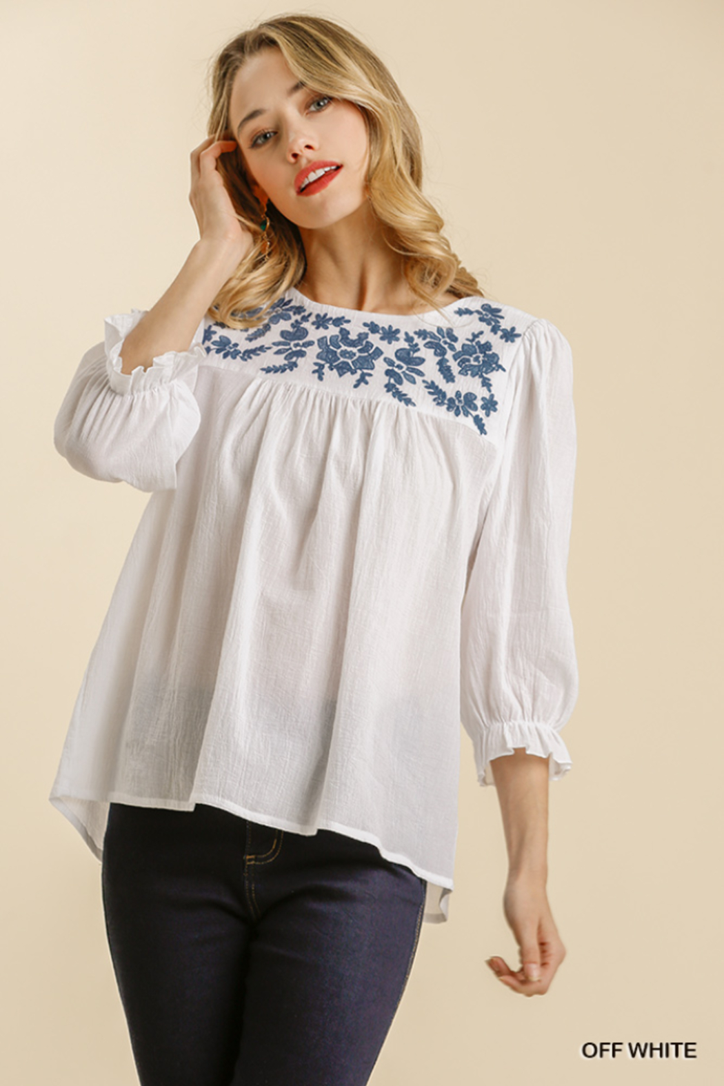 umgee  FLORAL EMBROIDERED YOKE 3/4 CUFF SLV TOP - Main Image