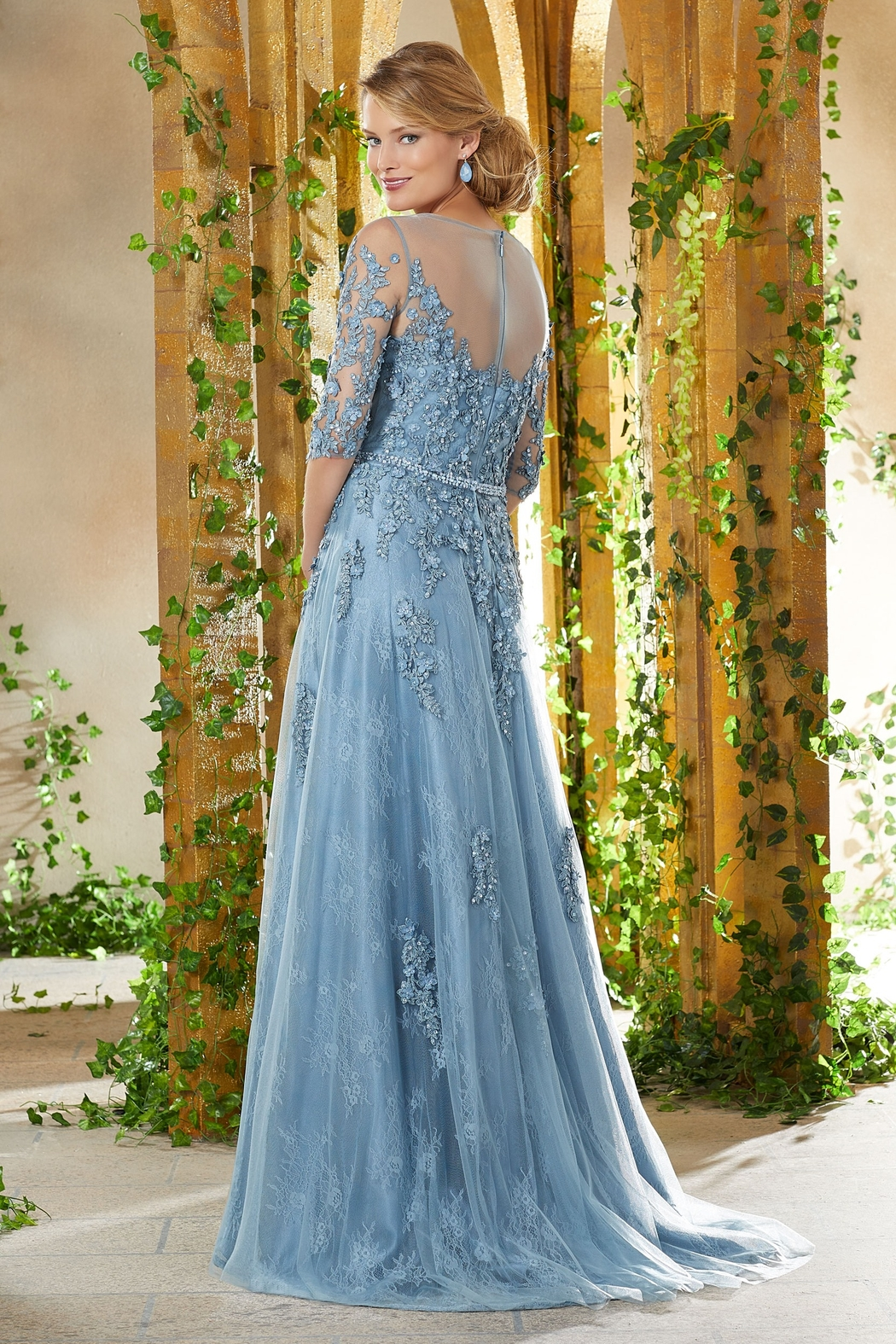 MGNY Floral Embroidery A-Line Gown, Slate Blue - Front Full Image