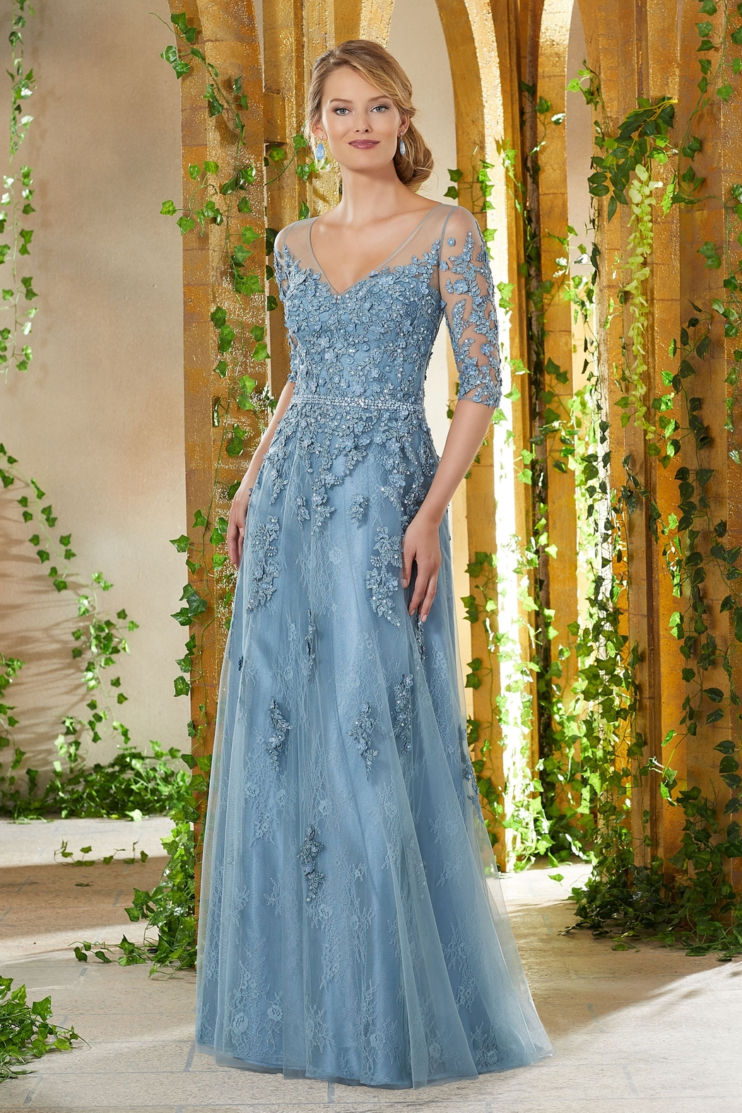 MGNY Floral Embroidery A-Line Gown, Slate Blue - Front Cropped Image