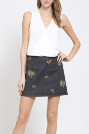Very J Floral Embroidery Denim Skirt - Product Mini Image