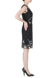 Joseph Ribkoff Floral Embroidery Detail V-Neck Dress - Front full body