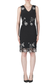 Joseph Ribkoff Floral Embroidery Detail V-Neck Dress - Product Mini Image