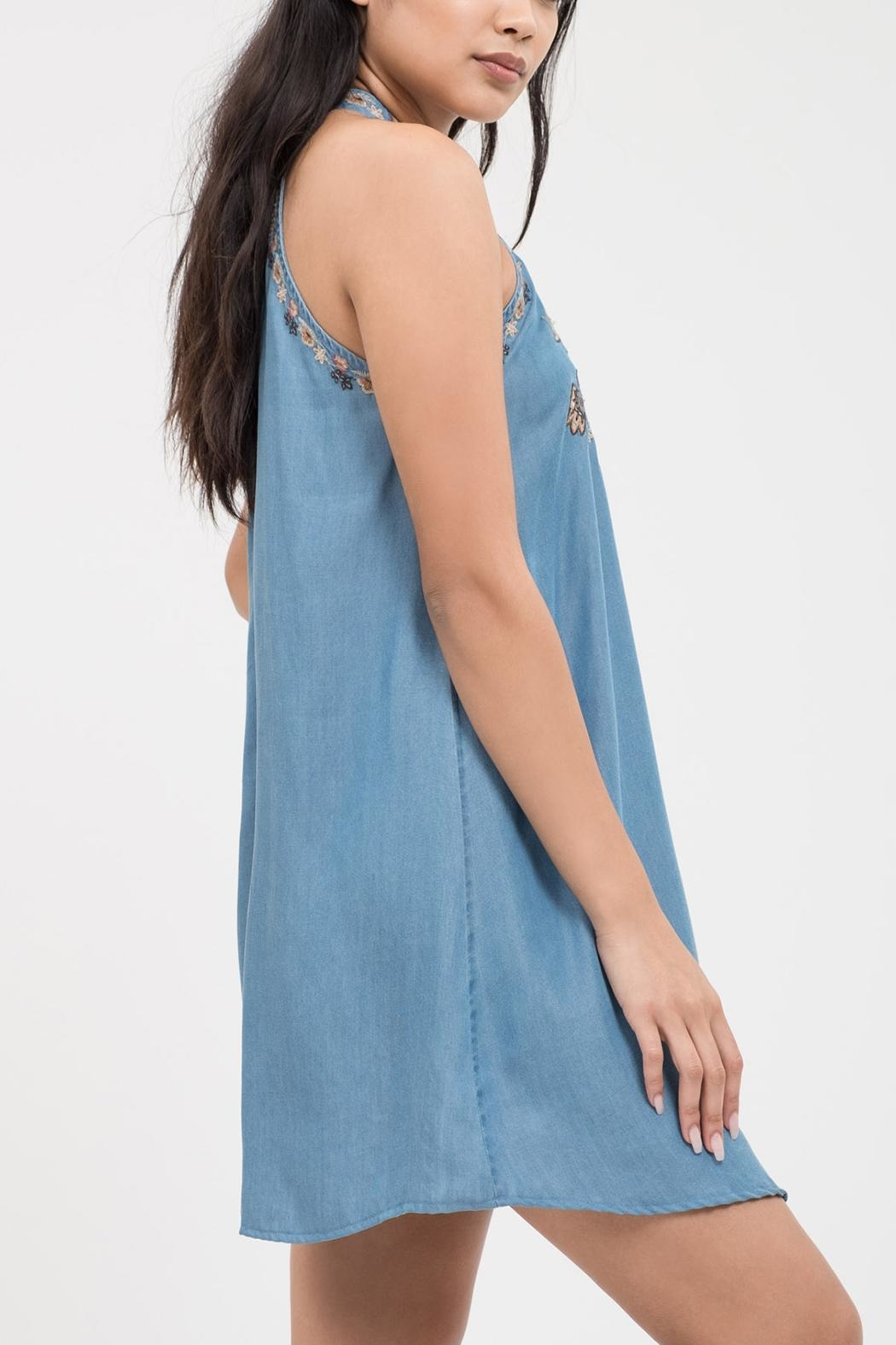 Blu Pepper Floral Embroidery Dress - Front Full Image