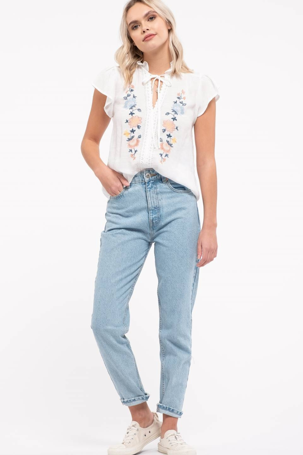 Mine Floral Embroidery Top - Main Image