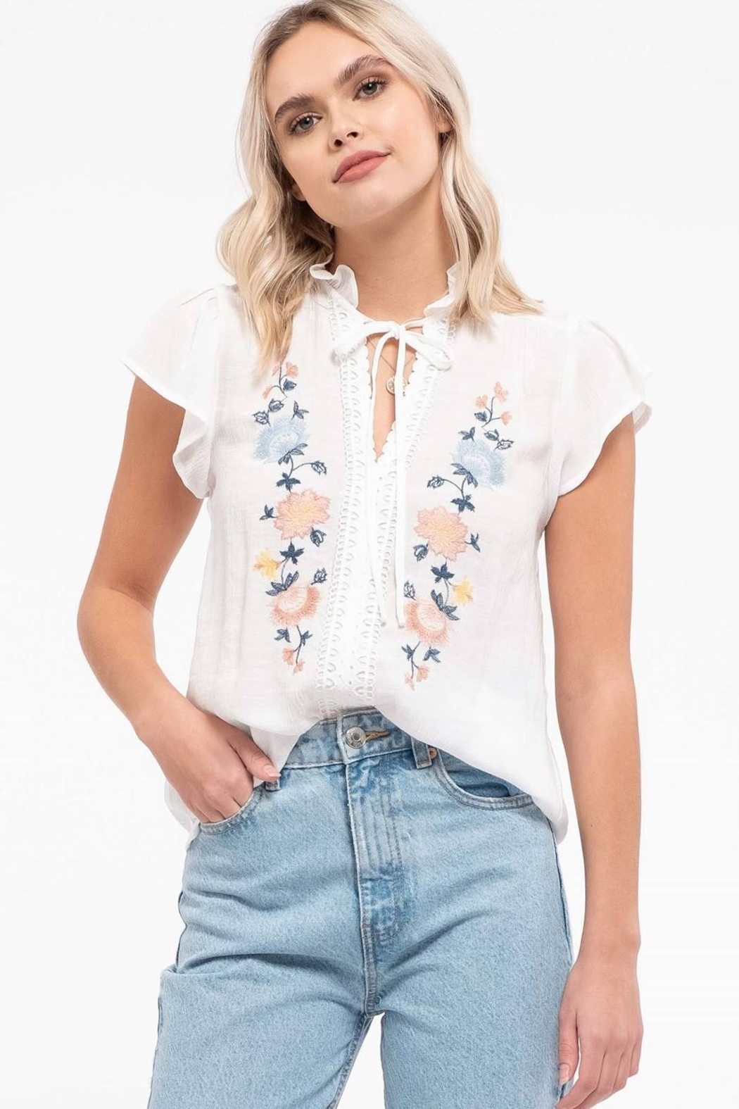 Mine Floral Embroidery Top - Front Full Image