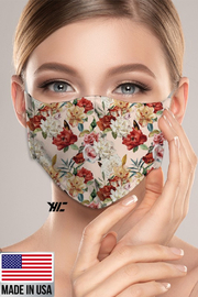 R+D  Floral Face Mask - Front full body