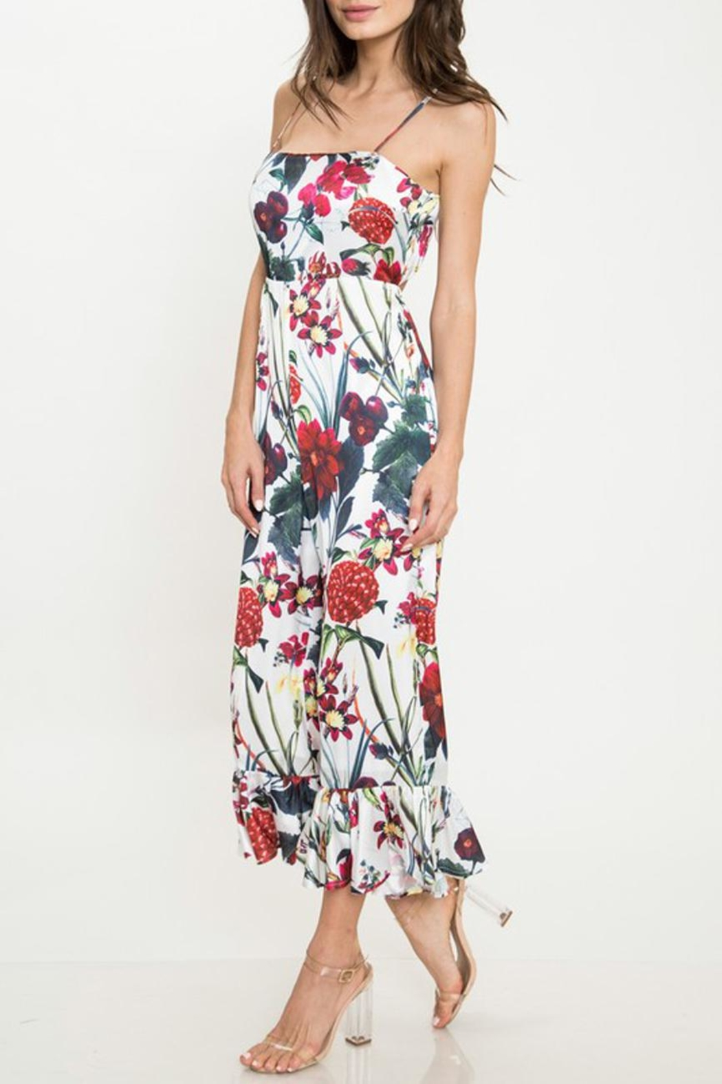 Latiste Floral Flare-Out-Leg Jumpsuit - Front Full Image