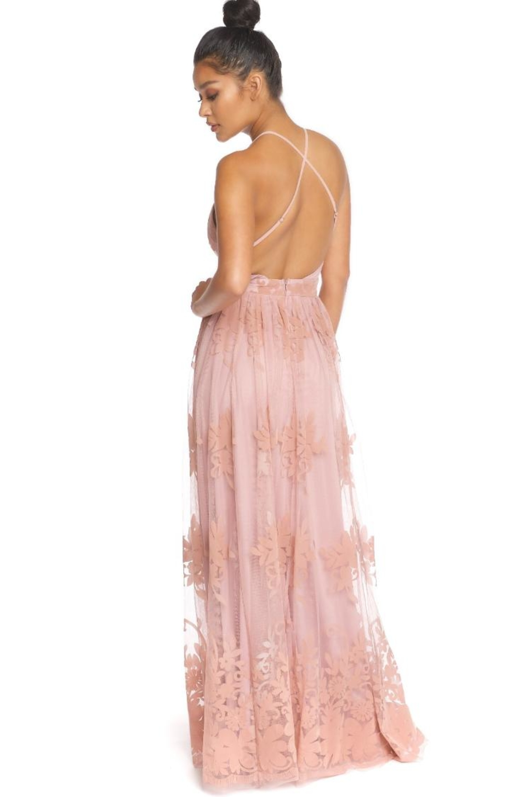 luxxel Floral Flocked Maxi - Front Full Image