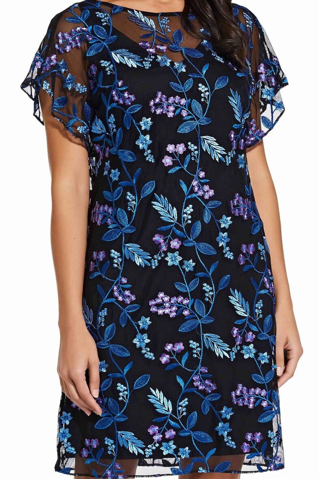 Adrianna Papell Floral Flutter Sleeve Shift Dress - Main Image