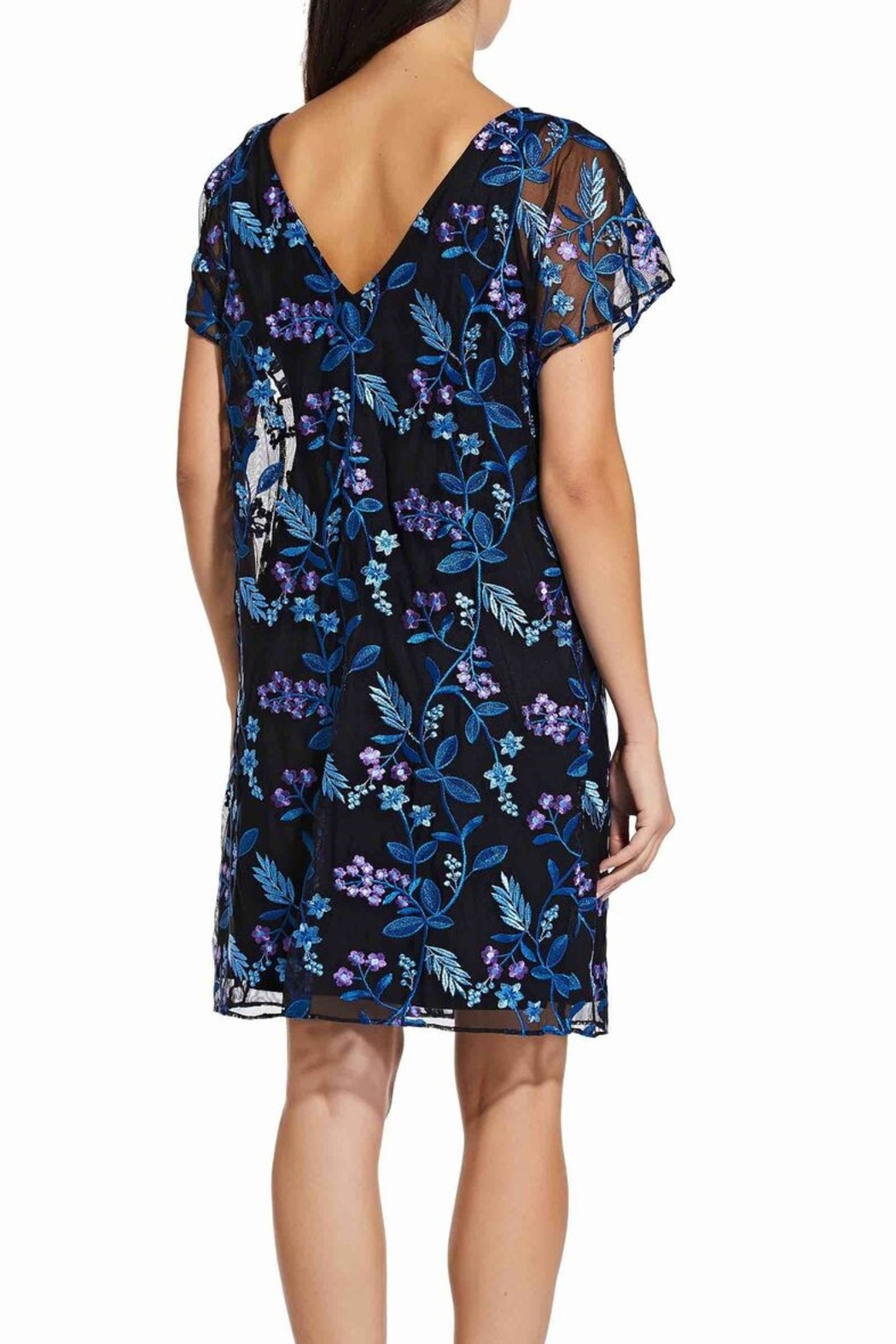 Adrianna Papell Floral Flutter Sleeve Shift Dress - Side Cropped Image