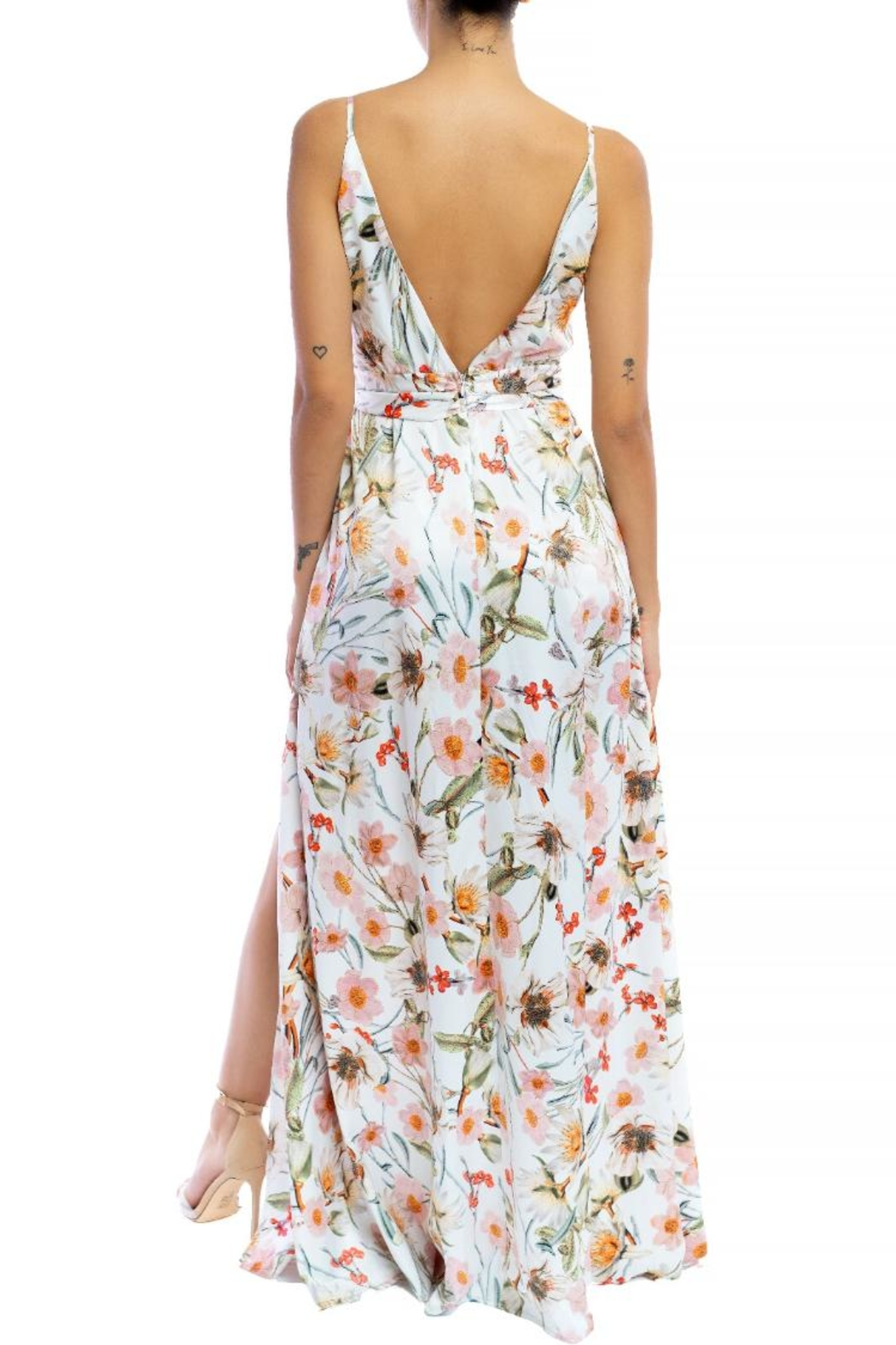 luxxel Floral Front-Slit Maxi - Front Full Image