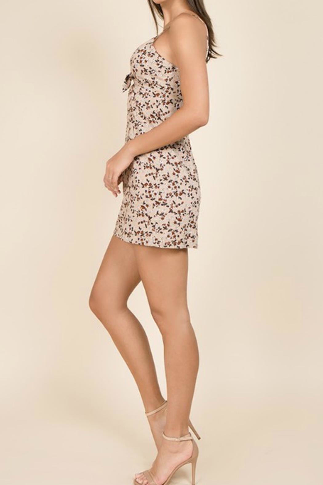 Miss Love Floral Front-Tie Dress - Side Cropped Image