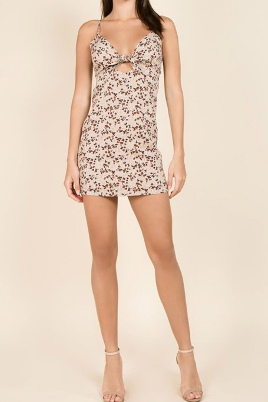 Miss Love Floral Front-Tie Dress - Front Full Image